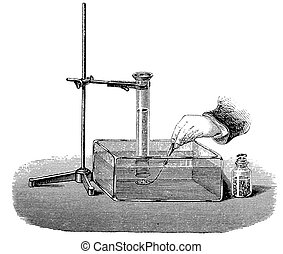 Vintage chemistry engraving - how to obtain hydrogen from water