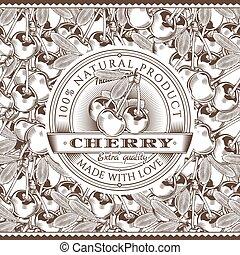 Vintage Cherry Label On Seamless Pattern