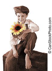 vintage child with sunflower
