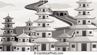 Vintage China Buildings Vector