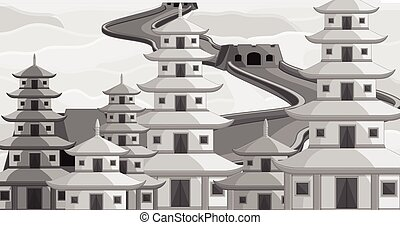 Vintage China Buildings Vector