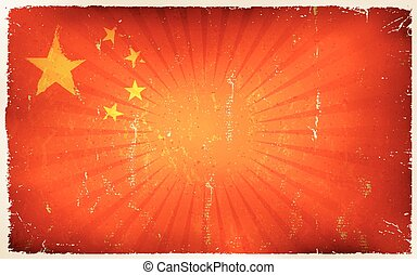 Vintage China Flag Poster Background