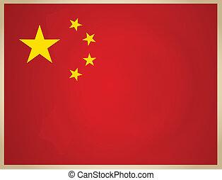 Vintage China Flag. Vector illustration.