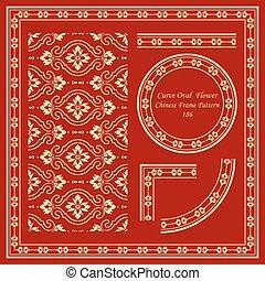 Vintage Chinese Frame Pattern Set Curve Cross Oval Flower