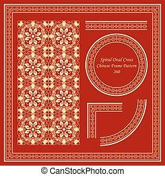 Vintage Chinese Frame Pattern Set Spiral Oval Polygon Cross...