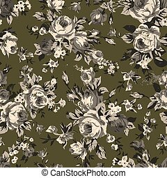 Vintage chintz roses seamless pattern - Shabby chic or ...