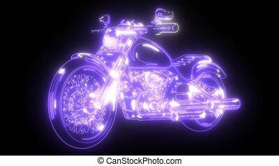 vintage chopper motorcycle video animation laser
