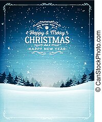 Vintage Christmas And New Year Landscape