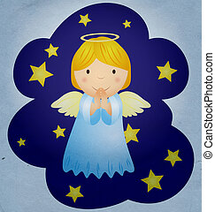 vintage christmas angel in the night sky