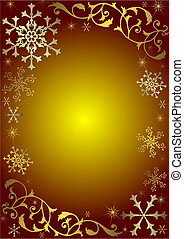 Vintage christmas background with golden and silvery snowflakes