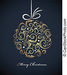Vintage Christmas ball with retro ornaments, vector...