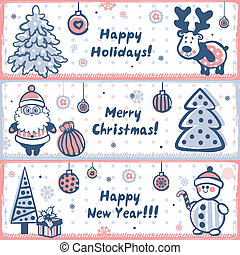 Vintage Christmas banner set of design elements