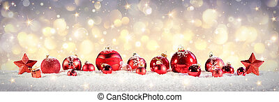 Vintage Christmas Baubles On Snow
