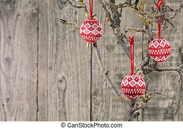 Vintage Christmas baubles over wooden background