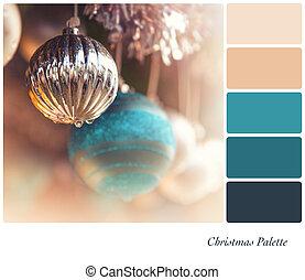 Vintage Christmas baubles palette