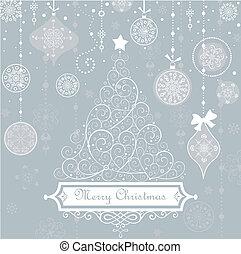 Vintage christmas blue card