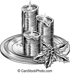 Vintage Christmas Candles and Holly - Illustration of...