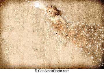 Vintage Christmas Card Angel
