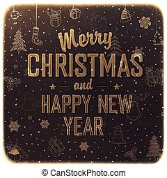 Vintage Christmas Card Design. Vector.