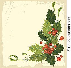 Vintage Christmas card with holly berry