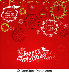 Vintage Christmas Card - for design and scrapbook - in vector