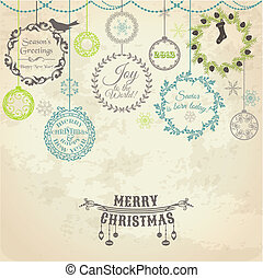 Vintage Christmas Card - for design and scrapbook - in...