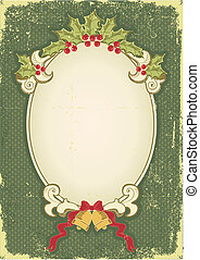 Vintage Christmas card for design with holiday elements