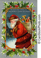 Vintage Christmas card of Santa Claus and a sack full of...