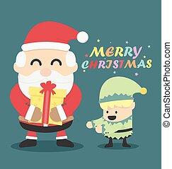 Vintage Christmas card  Santa claus and Christmas elf
