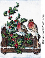 Vintage christmas card With birds, holly branch and snow