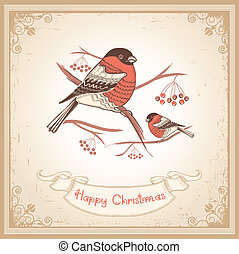 Vintage Christmas card with bullfinches and scroll for text.