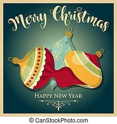 Vintage Christmas card with Christmas balls and message. Christmas poster. Print. Vector