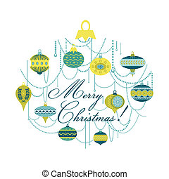 Vintage Christmas Card with - for design and scrapbook - in vector