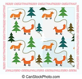 Vintage Christmas card with foxes at the forest