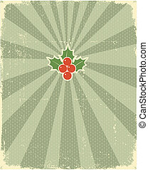 Vintage Christmas card with holly for text