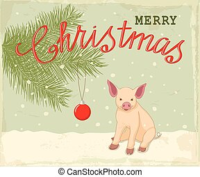 Vintage christmas card with little piglet - Retro christmas...