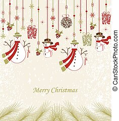 Vintage Christmas card with ornate elegant abstract floral design