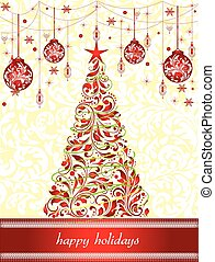 Vintage Christmas card with ornate elegant retro abstract floral design