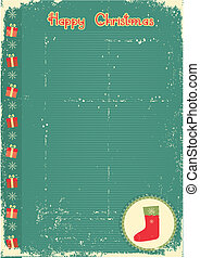 Vintage christmas card with present sock for text