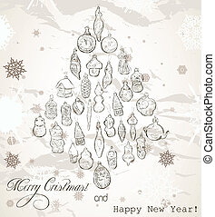 Vintage Christmas card with snowflakes.