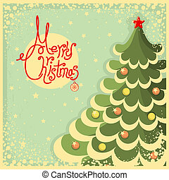 Vintage Christmas card with tree and text