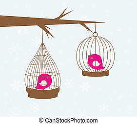 Vintage christmas card with two cute birds in the cages