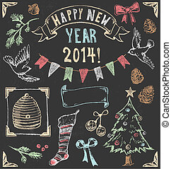 Vintage Christmas Chalkboard Set 2 - Festive hand drawn...