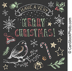 Vintage Christmas Chalkboard Set - Festive hand drawn...