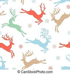 Vintage Christmas colors reindeer seamless pattern background.