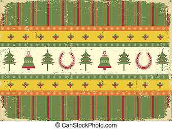 vintage christmas decoration on old paper background.Vector green red card for design