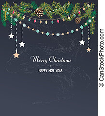 Vintage Christmas design with typography and garlands