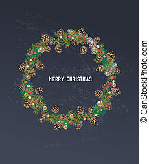 Vintage Christmas design with wreath of holly