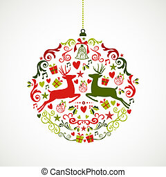 Vintage Christmas elements bauble design EPS10 file. - Cute...