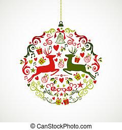 Vintage Christmas elements bauble design EPS10 file. - Cute...